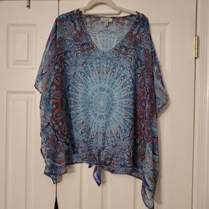 Blue medallion poncho top